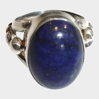 Vintage 925 Blue Lapis Cabochon Ring  - Size  6 - Etched Ball Sterling Silver Ring