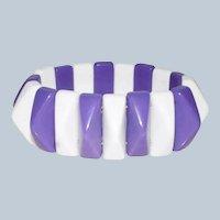 SALE***Vintage Purple and White Stretch Geometric Bracelet - Lucite Plastic Expandable Bracelet