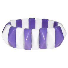 SALE***Vintage Purple and White Stretch Geometric Bracelet - Lucite Plastic Expandable Bracelet