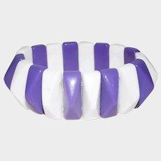 Vintage Purple and White Stretch Geometric Bracelet - Lucite Plastic Expandable Bracelet