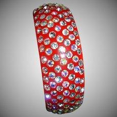 Vintage Lucite with Cherry Red  Aurora Borealis Rhinestones Bangle Bracelet