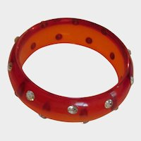Vintage Lucite and Rhinestone Red Bangle Bracelet