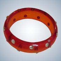 Vintage Lucite and Rhinestone Red Bangle Bracelet