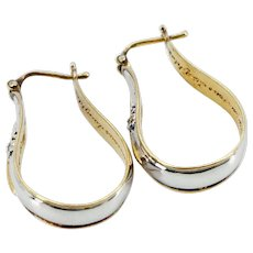 Vintage Sterling Silver  and  24 K Gold Plate - Sapphire and Diamond Hoop Earrings