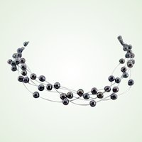 "Vintage Multi Strand Floating Faux Black Pearl Necklace - 16-1/2"" Long"