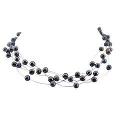 "Vintage Multi Strand Floating Faux Black Pearl Necklace - 16-1/2"" Long"