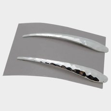 Vintage AVON Silver Tone LONG Dangle Pierced Earrings - Post Pierced Hand Hammered Earrings