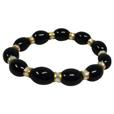 Vintage Black Gold and Cream Color Stretch Bracelet