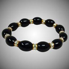 Vintage Black Gold and Cream Color Stretch Bracelet