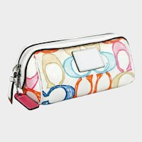 Retired Coach Clutch - Multi Color LOGO Print Canvas with Leather Trim and Full Zipper
