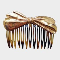 Vintage Miriam Haskell BOW Faux Tortoise Shell HAIR CLIP - Haskell Hair Comb