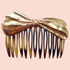Vintage Miriam Haskell BOW Tortoise Shell HAIR CLIP - COMB