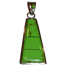 Southwest Inlaid Gaspeite & Sterling Silver Pendant