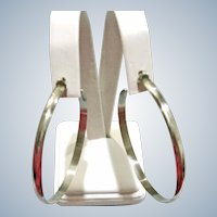Ex-Large Silver Tone Open Hoop Post Pierced Earrings