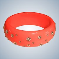 Vintage Coral Lucite and Rhinestone Bangle Bracelet