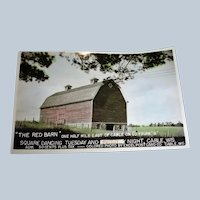 Vintage RED BARN Postcard - Square Dancing Post Card