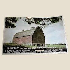 Vintage RED BARN Postcard - Square Dancing Post Card