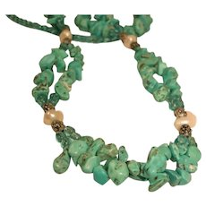 Vintage Chunky Genuine Turquoise NECKLACE / BRACELET with Fresh Water Pearls and Beads
