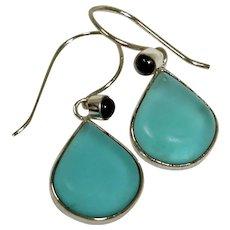 SALE**** Estate Beach Glass or Sea Glass and Onyx Pierced Earrings