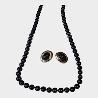 Vintage Black Glass Bead and Gold Plated Monet Necklace and Earrings Set
