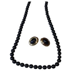 Vintage Black and Gold Plated Monet Necklace and Earrings Set