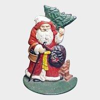 Vintage Painted Cast Iron Santa Claus  Doorstop