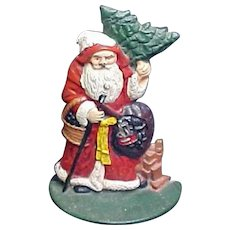 Vintage Painted Cast Iron Santa Claus  Doorstop