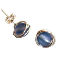 Estate Blue Glass and Sterling Silver Stud Pierced Minimalist Earrings