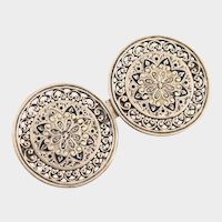 VICTORIAN Light Gold Tone Filigree Champleve Enamel Brooch