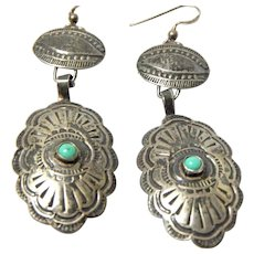 Antique Hand Stamped Native American Turquoise and Sterling Earrings