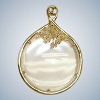 Vintage Magnifying Glass Gold Plated Pendant