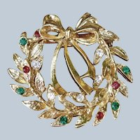Eisenberg Ice Signed Christmas Wreath Brooch