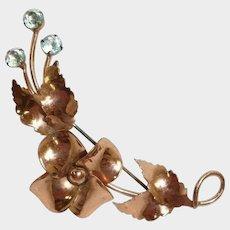 Vintage Estate Jewelry - STERLING BY JORDAN Flower Brooch - Gold Vermeil Plated Brooch with Floral Blue Rhinestone - 1940's Era