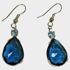 Vintage Dangle Drop Pierced Crystal Earrings - Facet Cut Sapphire Blue
