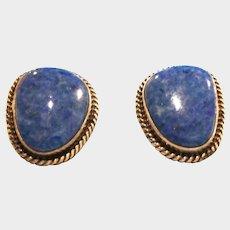 Native American Earrings - Signed NAKAI Denim Lapis Lazuli Pierced Earrings - Navajo Sterling Silver and Lapis Earrings