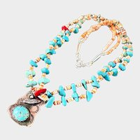 Native American Indian Turquoise Heishi Shell Carved Fetish Necklace - Sterling Silver