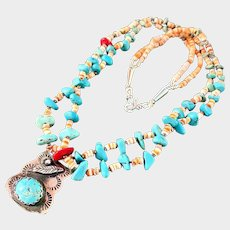 Native American Indian Turquoise Heishi Shell Fetish Necklace - Sterling Silver