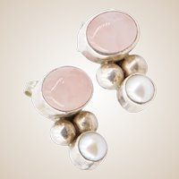 Vintage Sterling Silver - Rose Quartz and Fresh Water Pearl PIERCED Post Earrings