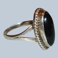 Native American - Vintage Navajo Nakai ONYX Sterling Silver Ring - Size 3.75