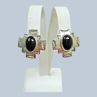Signed Sterling Silver and Onyx Southwest Post-Pierced Earrings