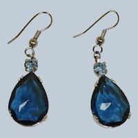 Vintage Facet Cut Dangle Drop Blue Crystal Rhodium Plated Pierced Earrings
