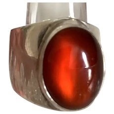 Vintage NAKIA Signed Native American Carnelian Ring - Size 6