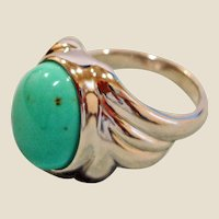 Estate Turquoise and Rhodium Plated Ring
