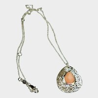 Petite Peach Gibbsite Drop Pendant on a Silver Tone Chain - Estate