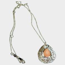 Petite Peach Gibbsite Drop Pendant on a Silver Tone Chain - Estate