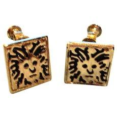 Antiqued Silver Lion head Logo Earrings -  Early Screw Back Earrings