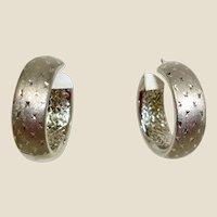 Sterling Silver Hoop Pierced Earrings - Patterned Sterling Earrings