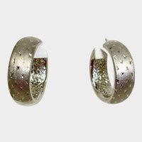 Sterling Silver Hoop Pierced Earrings - Patterned Sterling Earrings