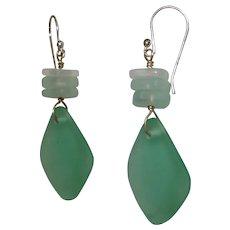Aqua-Green Sea Glass Earrings - Beach Glass Earrings - Mermaid Tears Earrings