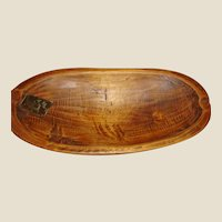American Primitive Carved Trencher or Wood Dough Bowl with an Early Repair